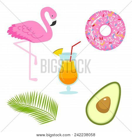 Summer Icons. Flamingo And Drink, Avocado And Tropical Palm. Fun Sticker For Girl, Fashion Cute Patc