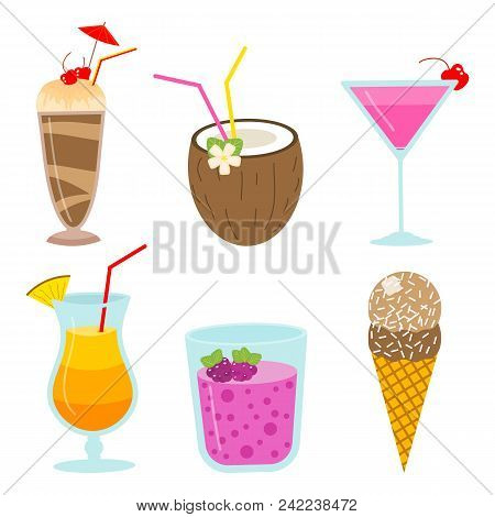 Cocktails And Milkshakes, Drinks Juices And Coconut Milk, Smoothies With Chocolate And Berries, Vege