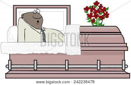 Illustration Of A Shocked Black Man Waking Up Inside A Metal Coffin.