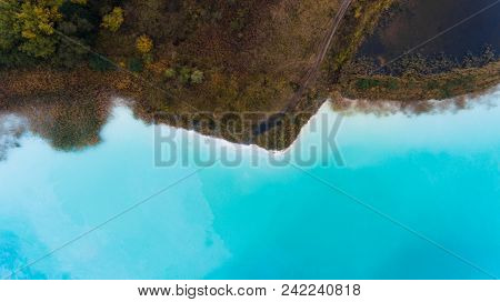 Top View Aerial Drone Photo Of Seascape With Turquoise Water Lagoon