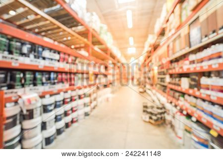 Blurred Paint At Large Hardware Store In Usa  Customer Shopping