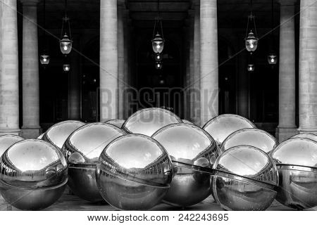Paris, France - June 25, 2017: Silver Balls In The Fountain Designed By Belgian Sculpture Pol Bury R