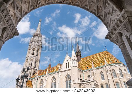 Matthias Church, A Church Located In Budapest, Hungary, In Front Of The Fisherman's Bastion At The H