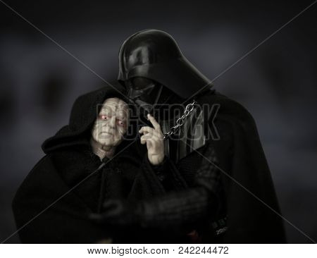 MAY 23 2018: Humorous moment with Sith Lord Darth Vader and his master the evil Dark Sith Emperor Sheev Palpatine - Hasbro Black Series action figures