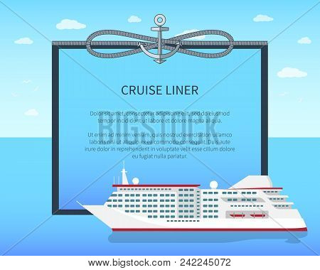 Cruise Liner Colorful Banner Vector Illustration Bright Sky With Clouds Image With Cordage Spiral An