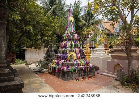 Wat Damnak Burial Pagodas In Siem Reap, Cambodia. Traditional Buddhist Pagoda Architecture. Cambodia