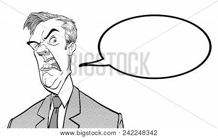 Angry Boss. Annoyed Politician. Angry Man Vector Illustration