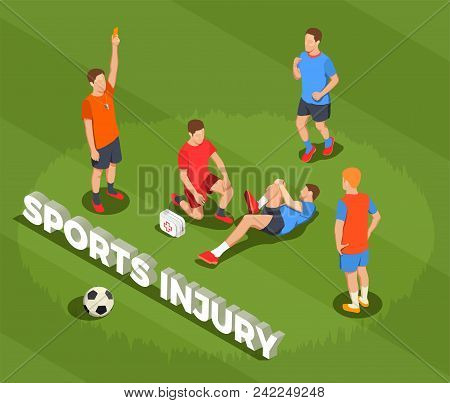 Football Soccer Isometric People Composition With Text And Images Of Suffering Player After Foul Wit