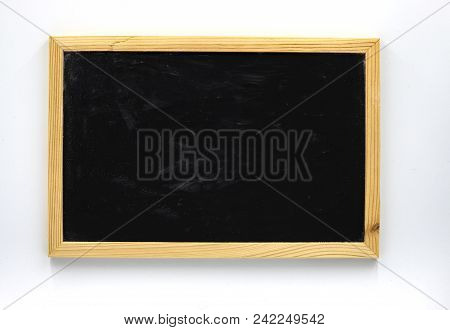 Blank Blackboard In Wooden Frame Flat Lay Photo On White Background. Chalkboard With Text Place On W