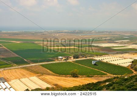 Hang Glider Over Farmland
