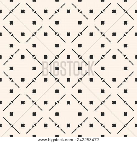 Vector Geometric Seamless Texture With Small Square Shapes, Diagonal Grid. Simple Abstract Monochrom