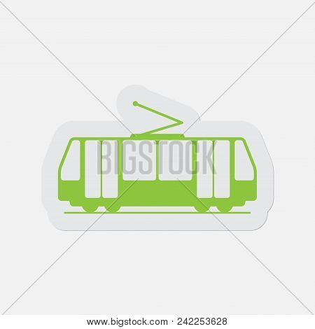 Simple Green Icon With Light Gray Contour And Shadow - Tram, Streetcar On A White Background