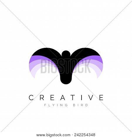 Creative Bird In Flight. Circular Style. Vector Illustration