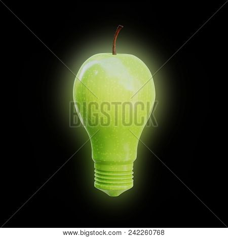 Apple Shaped As A Light Bulb Glowing On Black Background. Innovation, Idea And Creativity Concept. 3