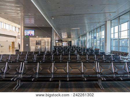 Washington Dc - May 3, 2018: Interior Of The A Terminal Building With Empty Seats At Washington Dull