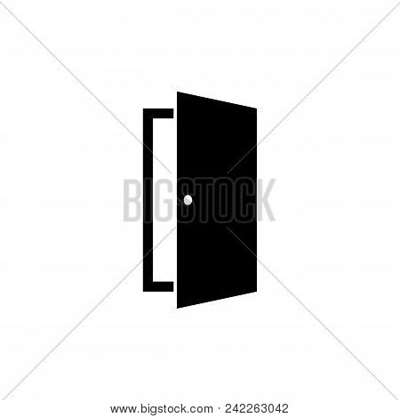 Door Icon In Flat Style. Open Door Symbol Isolated On White Background. Simple Abstract Exit Icon In