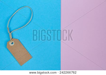 Price Tag, Gift Tag, Sale Tag, Address Tag On Pink-neon Background. Minimal Summer