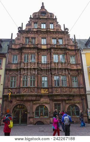 10/28/2016. Medieval Town  Heidelberg, Germany , Baden-württemberg . Street Of Medieval City . Old H
