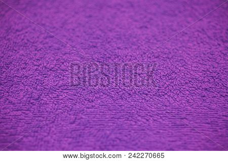 Purple Fabric Texture And Background For Design. Closeup View Of Purple Cloth Texture. Abstract Purp