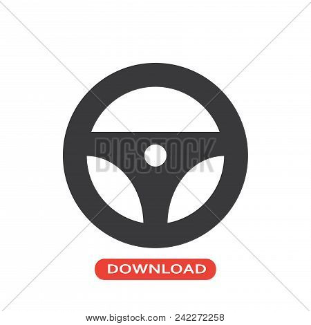 Steering Wheel Vector Icon Flat Style Illustration For Web, Mobile, Logo, Application And Graphic De