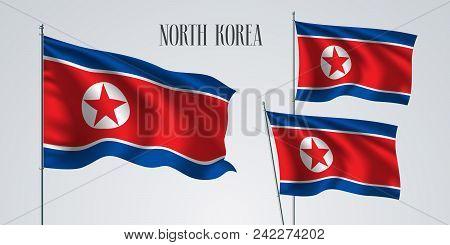 North Korea Waving Flag Set Of Vector Illustration. White Red Blue Colors Of North Korea Wavy Realis