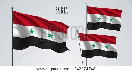 Syria Waving Flag Set Of Vector Illustration. White Red Colors Of Syria Wavy Realistic Flag As A Pat