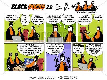 Cartoon Illustration Of Black Ducks 2 Comic Story Episode 3