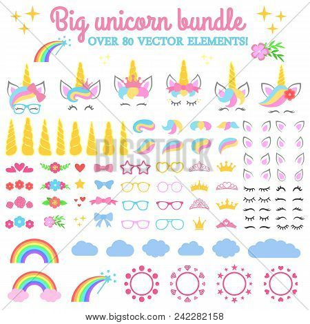 Vector Collection - Big Unicorn Bundle. Create Your Own Unicorn. Unicorn Constructor - Horhs, Eyelas