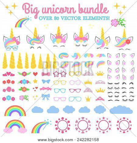 Vector Collection - Big Unicorn Bundle. Create Your Own Unicorn. Unicorn Constructor - Horhs, Eyelas
