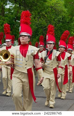 West Saint Paul, Mn/usa - May 19, 2018: Students Of Henry Sibley High School Marching Band Perform D