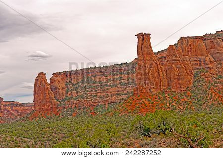 Pinnacles In A Remote Canyon In Monument Valley In Colorado National Monument In Colorado