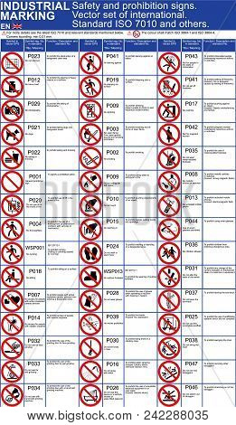 Set Of Vector Safety Signs, Prohibition Icons For Buildings Applications. Iso 7010 Standard Vector S
