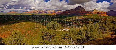 A Panorama View Of The City Of Sedona Arizona From The North Western Side Of The Airport Trail Loop