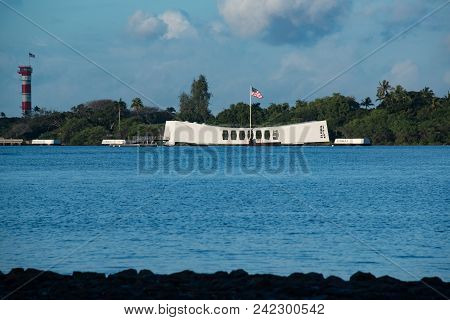 Uss Arizona Memorial Honors The Dead Laying Below From The Sunken Uss Arizona Battleship In Pearl Ha