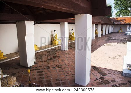 Buddha Statue For Thai People Visit And Respect Praying At Wat Kiean Bang Kaew In Khao Chaison Distr