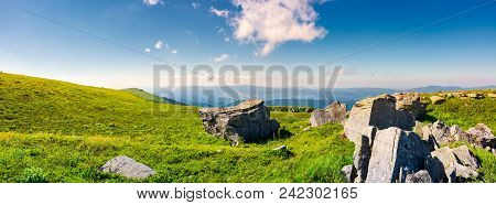 Beautiful Panorama Of Runa Mountain In Summer. Huge Rocky Formation On The Hillside And Peak In The
