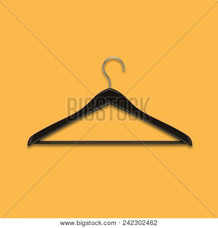 Boutique shop black clothes hanger isolated on yellow background. Minimalistic fashion background. 3D rendering.