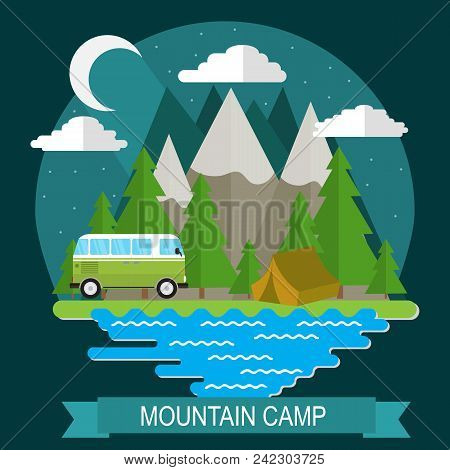 Night Landscape With Camp And Mountain. Camping, Outdoor Recreation, Recreation In Nature.