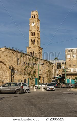 Acre, Israel - March 23, 2018: Clock Tower In The Old City Of Akko