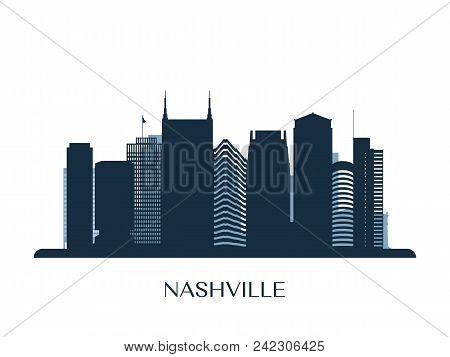 Nashville Skyline, Monochrome Silhouette. Design Vector Illustration.
