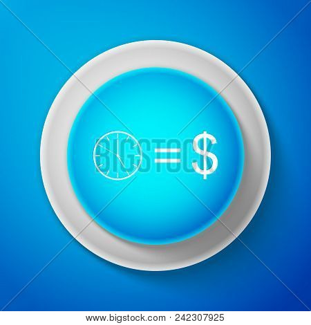 White Time Is Money Sign Isolated On Blue Background. Money Is Time. Effective Time Management. Conv