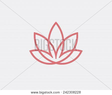 Abstract Flower Design. Line Creative Symbol. Universal Icon. Lotus Sign. Simple Logotype Template F