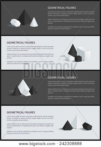 Geometrical Figures Posters Set, Text Sample And Headlines, Square Pyramid And Cube, Geometrical Fig