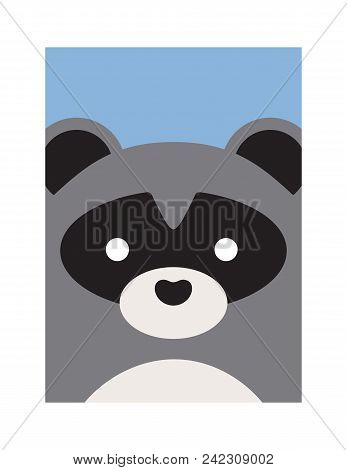 Alphabet Letter Cute Cartoon Raccoon Vector Animal Illustration White Frame Raccoon Face With Black Spot Bigstock Cute Cartoon Raccoon Vector Photo free Trial Bigstock