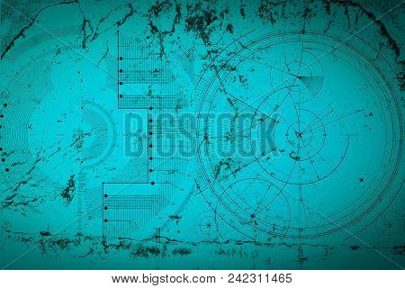 Abstract Grunge Futuristic Cyber Technology Background. Sci-fi Circuit Design. Blueprint On Old Grun