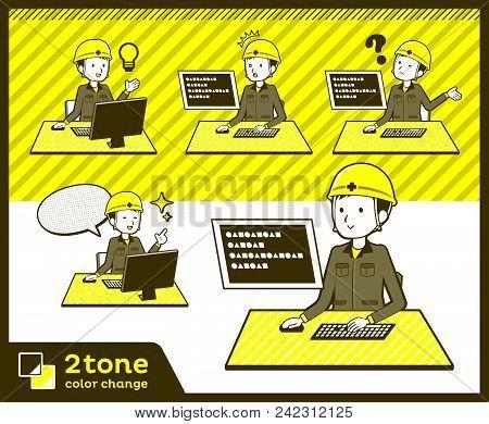 2tone Type Helmet Construction Worker Men_set 04