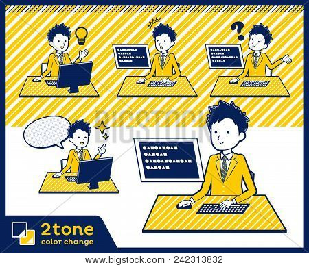 2tone Type School Boy Brown Blazer_set 04