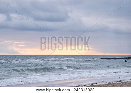 Beautiful Sky Background. Composition Of Nature. Seascape, Sunrise And Sunset