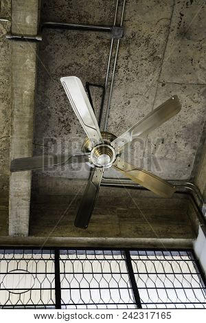 Ceiling Fan Decorated In Vintage Style Room, Stock Photo