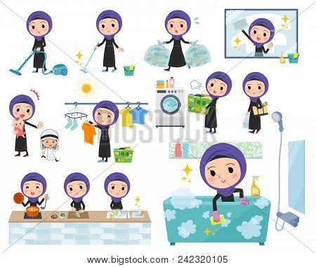 Set Of Various Poses Of Arab Women_housekeeping